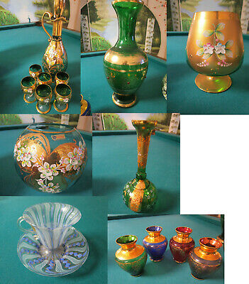 1900s Bohemian Czech VASES, FISH BOWL, DECANTER - CUP/SAUCER -GLASSES  -PICK ONE