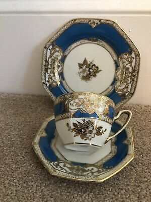 STUNNING COLBAT BLUE HAND PAINTED AND GILDED TRIO 1930's