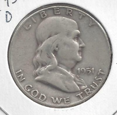 1951 D Franklin half dollar Nice Circulated U.S. 90% silver coin