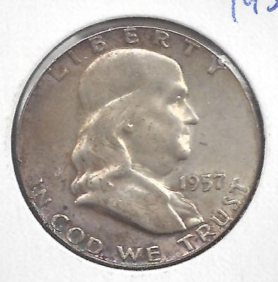 1957 P Franklin half dollar Nice Circulated U.S. 90% silver coin
