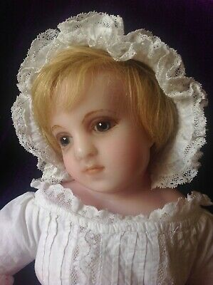 Absolutely BEAUTIFUL rare antique English poured wax baby doll by Lucy Peck