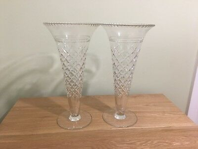 2 Large Conical Cut Glass Vases