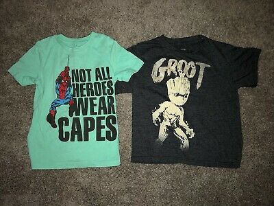 Marvel~Boys 2pc Spiderman and Groot Shirts Sz 5/6 Guardians of Galaxy