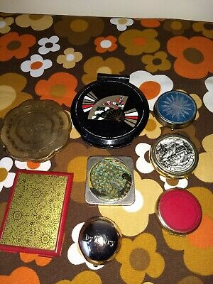 Joblot Of Vintage Powder Compacts Mirror Compact & Pill Boxes