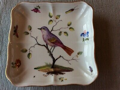 PERFECT Meissen Crossed Swords Antique Dresden Square Bon Bon Dish Birds insects