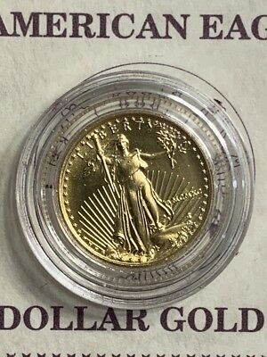 1990 $5 Gold American Eagle 1/10 oz uncirculated with certificate & display case