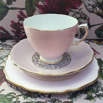 Vintage Royal Vale Bone China, Pink & Gold Floral Chintz, Tea Cup Trio 1960's