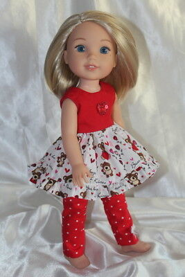Dress Outfit fits 14inch American Girl Wellie Wishers Doll Clothes Lot Hearts