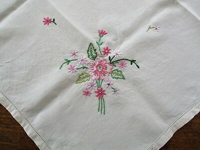 Vintage Hand Embroidered Linen Tablecloth decorated with pink flowers