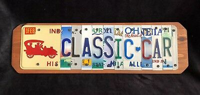 Classic Car American License Plate Wall Art Recycled Registration
