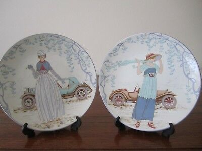 POOLE POTTERY 'LADY IN CAR' PLATES No 160  & No 163