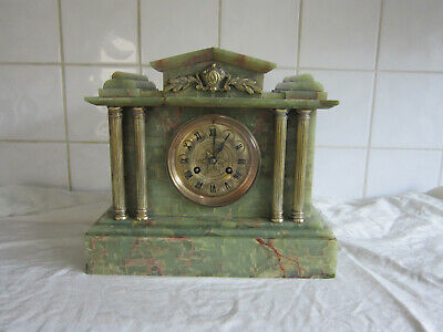 Lovely Onyx Chiming Temple Clock - Circa 1900