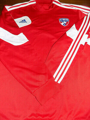save off f0a20 fc14b ADIDAS FC DALLAS Long Sleeve Soccer Jersey ClimaCool 2XL Red/White