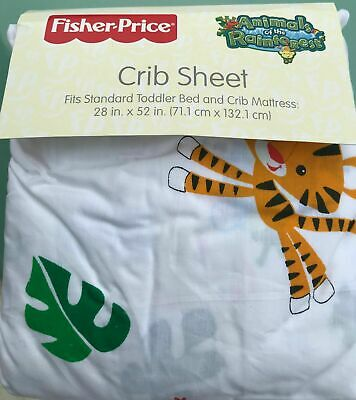 Fisher PriceANIMALS OF THE RAINFOREST Crib Fitted Sheet lion frogToddler NWT