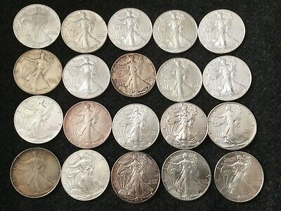 Roll Of 20 Mixed Date 1986-2018 American Silver Eagle ASE .999 1 Ounce Coins Lot