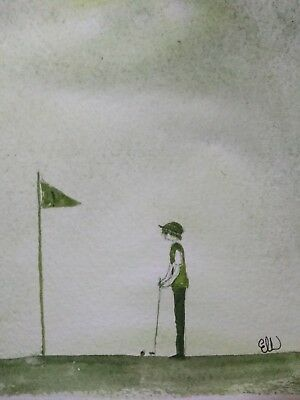 Original Watercolour painting. On the golf green.