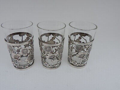 Stunning Vintage 3 Japanese Sterling Silver Cup Holders W Glass Inserts Japan
