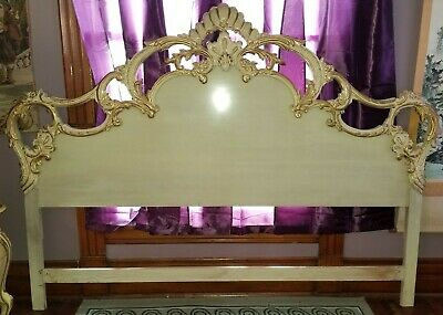 Louis XV French Provincial Ornate Carved Wood Gold Gilt King Size Bed Headboard