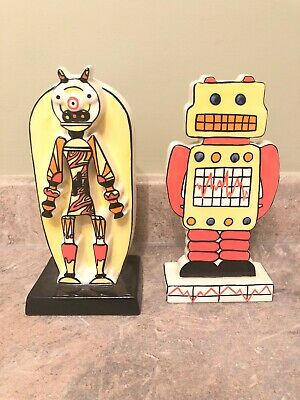 Lorna Bailey Pottery, Limited Edition 2/250, Pair of Robots