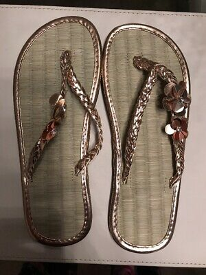 3ab927b1ed9f55 Accessorize Monsoon Ladies Seagrass Flip Flops Size S UK 3 4 Gold - New