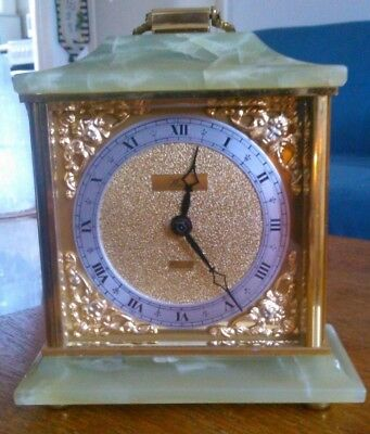 Vintage Weiss Quartz Onyx Mantle Clock Made In England Good Condition