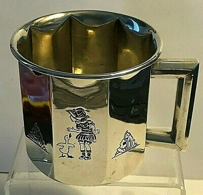 Antique 30's Girl & Duck Theme Child or Baby Cup H.R. Morss Co. Sterling Silver