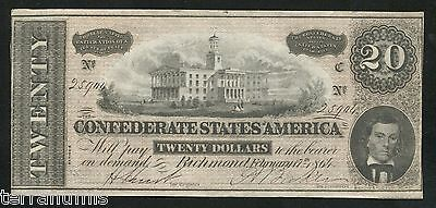g752 20 dollars 1864 Confederate States of America Civil War Currency Note CSA