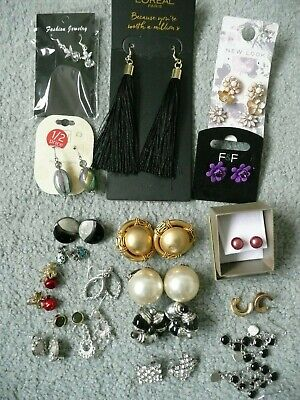 Job Lot Of 18 Vintage Used Costume Earrings For Pierced Ears, 3 Pairs Of Clip-On