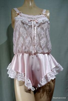 VINTAGE SILKY SHEER PINK NYLON & LACE TEDDY Sm/Med
