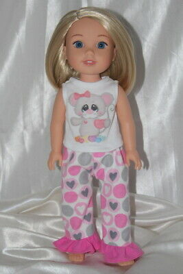 Dress Pajamas fits 14inch American Girl Wellie Wishers Doll Clothes Hearts Lot