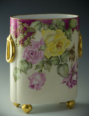 """Limoges Hand Painted Roses 10-3/4"""" Cache Pot Vase Dated 1896"""
