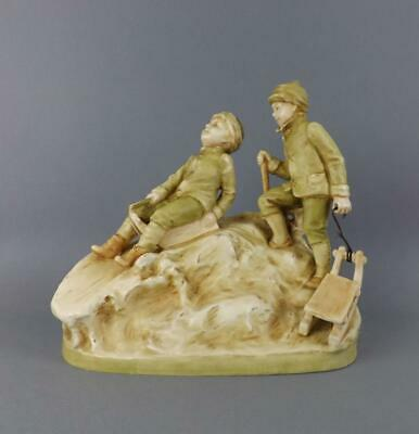 A Exquisite Art Deco Porcelain Royal Dux Large Figurine of Two Boys  circa 1900.