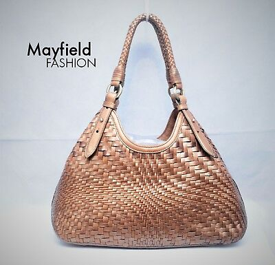 Cole Haan Genevieve Woven Copper Bronze Leather Weave Tote Bag EUC FREE SHIPPING