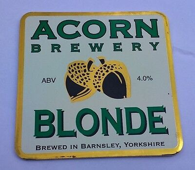 ACORN brewery BLONDE ale beer pumpclip UNUSED badge front pump clip Yorkshire