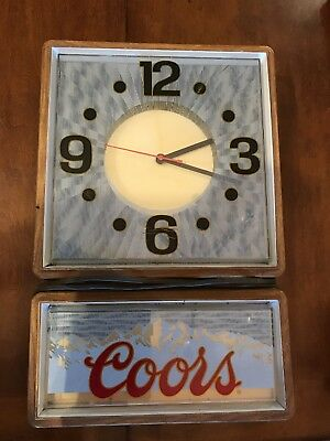 """Coors Beer Electric Clock,lights up,21""""x14"""",working condition"""