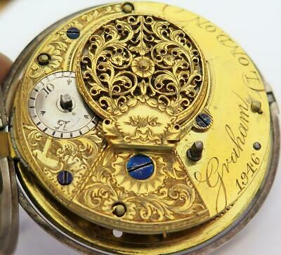 18th Century Graham London Fusee Calendar Pocket Watch in 1804 Silver Case As Is