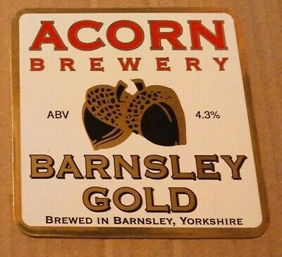 ACORN brewery BARNSLEY GOLD cask ale beer badge front pump clip Yorkshire