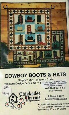 Lot of 2 Western Cowboy boot and hat Quilt Patterns NEW