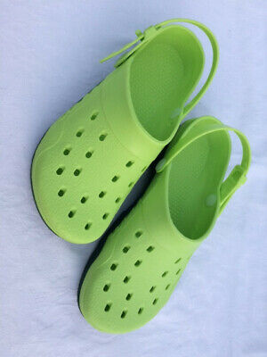Womens Lime Green Croc Style clogs/gardening shoes, sliders . Size 6