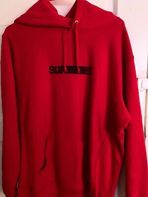 6ad2c8ef1f01 100% Authentic Red Supreme Motion Logo Hoodie Hooded Sweatshirt Size LARGE