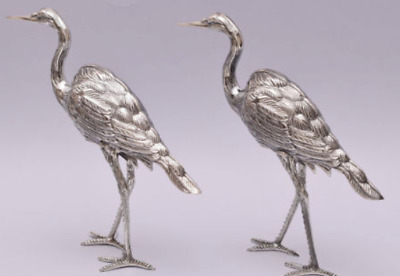 sterling pair of spanish silver heron marked