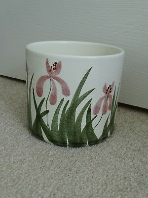 Vintage Poole Pottery Handpainted Orchid Design Planter