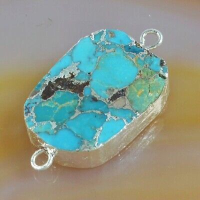 Blue Copper Turquoise Connector Silver Plated T075289