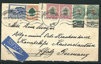 South Africa 1936 Multifranked Cover Johannseburg - Kaiserslautern, Germany