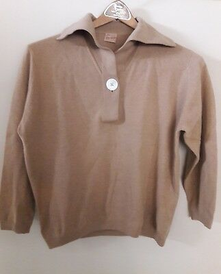 Vintage S Sax Fifth Ave. Sailor Women's Cashmere Pullover Sweater Tan 1950s