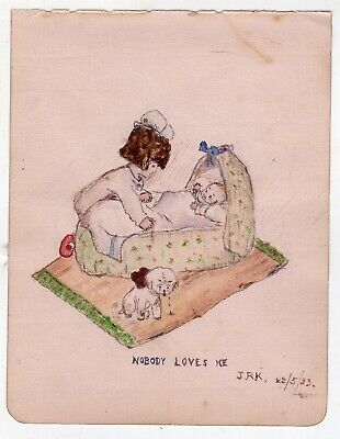 New Baby Puppy Dog Love Humor Antique Folk Art Signed Watercolor Painting 1923