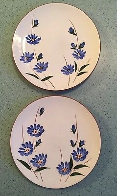 """Two Vintage Stangl Chicory Pattern 6"""" Bread Plates Pottery Usa"""