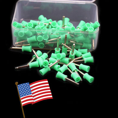 100 pcs Dental Prophy Cup Rubber Polish Brush Polishing Tooth Latch Type From US