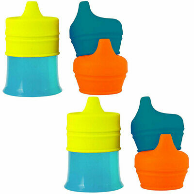 2PK Boon Snug Spout Baby/Boy/Kids 9m+ Drink Container Silicone Lids w/ Cup Blue