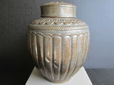 Antique Chiese Qing Dynasty to Republic Period Bronze Tea Jar